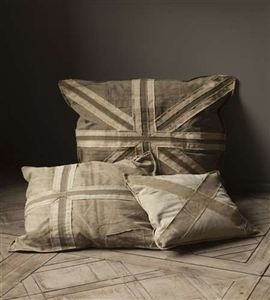 Union Jack pillow by Mothology -- love the shabby monotone look -- clever ~~~
