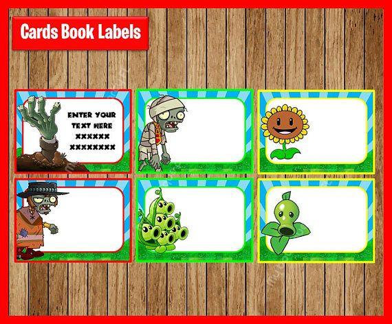 Plants vs zombies school label name label name tag - Etiquetas para plantas ...