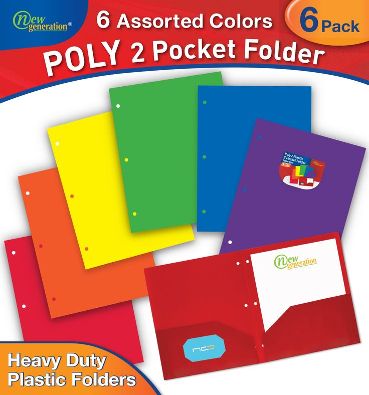 New Generation - 2 Pocket Poly / Plastic Folder 3 HOLE PUNCHED, 6 PACK (MULTI COLOR)