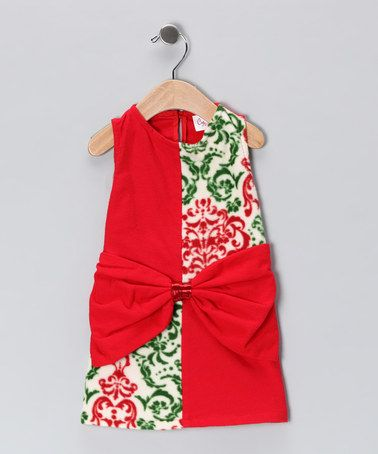 Take a look at this Red & Green Bow Dress - Infant by CyBaby on #zulily today!