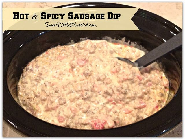 Hot & Spicy Sausage Dip!  Simple to make, so good.  Only 3 Ingredients!  Serve with Tortilla chips or Fritos Scoops!