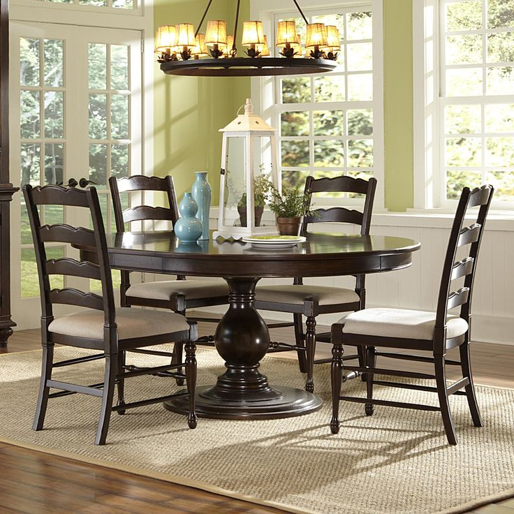 Loren Wood Round   Oval Dining Table   Chairs in Distressed Deep Cherry  From humble abode14 best Round table and chairs images on Pinterest   Round tables  . Arlington Round Sienna Pedestal Dining Room Table W Chestnut Finish. Home Design Ideas