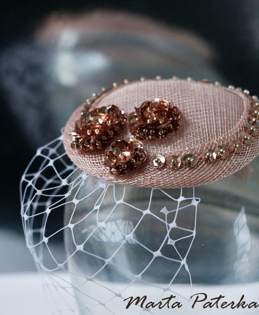 Soft Pink Sinamay Fascinator Hat with Veil and by martapaterka