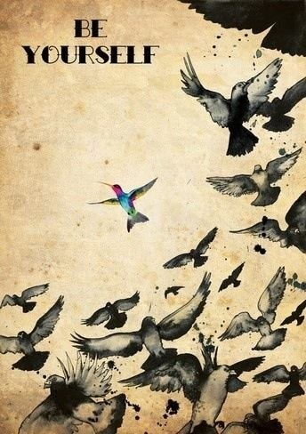 Hummingbird tattoo inspiration. Love the idea of  one of the birds in colour