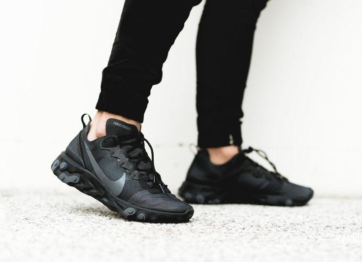 Nike React Element 55 Black Dark Grey on feet (2019) | Chaussures ...