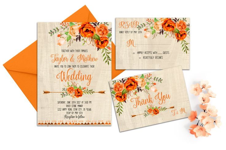 Orange Blue Wedding Invitation Printable Floral Wedding