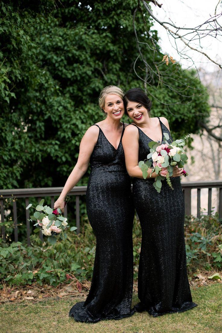 slinky black sequin bridesmaid dresses