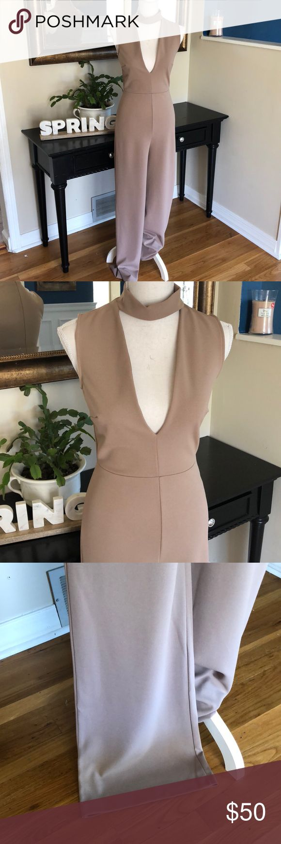 Lulu's Romper - Nude Stunning in person, this flattering romper can be dressed up or down. I wore it one time to a wedding with heels. Zip up back and built in choker neckline. Very sexy and comfortable! Lulu's Pants Jumpsuits & Rompers