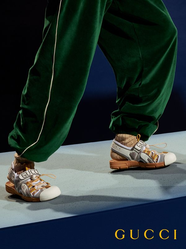 71f20c6da2 Men's leather and mesh sandal in 2019 | Details | Gucci fashion ...