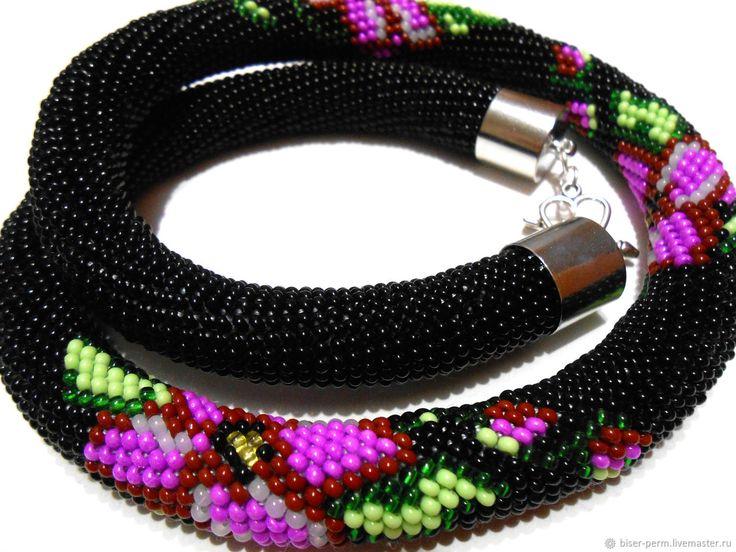 Черный жгут с яркими цветами – купить в интернет-магазине на Ярмарке Мастеров с доставкой