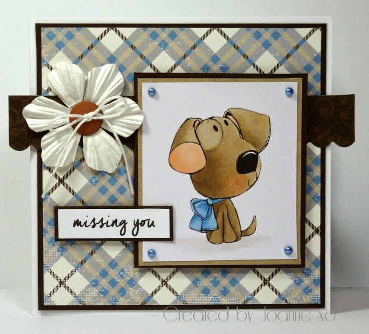 Missing You Card with Dog Digi Image