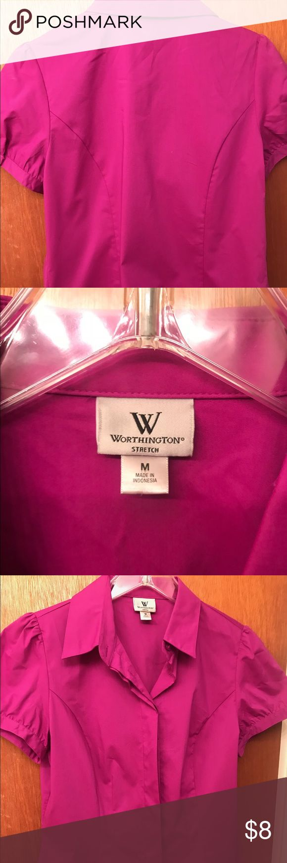 Hot Pink blouse Hot pink short sleeve cap sleeved button down blouse. Worthington Tops Button Down Shirts