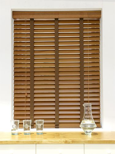 Golden Oak & Walnut Wooden Blind with Tapes - available in 35mm and 50mm slats, the lovely natural grain of this blind gives it a traditional feel whilst the cotton tapes add that extra touch of style. #blinds #wooden #venetian #tapes