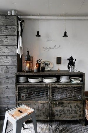 <3 industrial loft kitchen buffet / table /storage