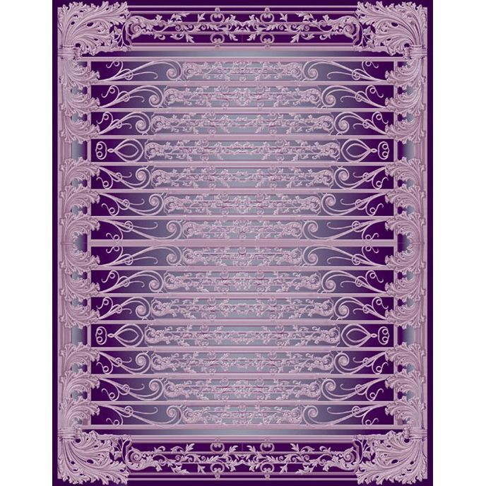Фиолетово-белый ковер с объемным изображениям Edem