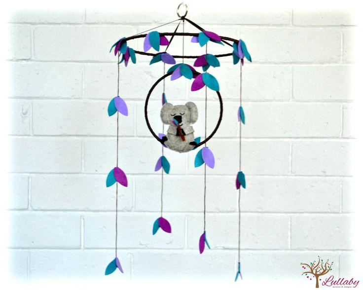 Koala mobile - australian - Nursery baby mobile - purple and teal, heather beige - Nursery decor - MADE TO ORDER by LullabyMobiles on Etsy