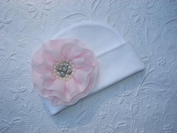 Infant White Beanie Hat Baby Girl Beanie Hat by MyLolliflopsLLC, $12.00