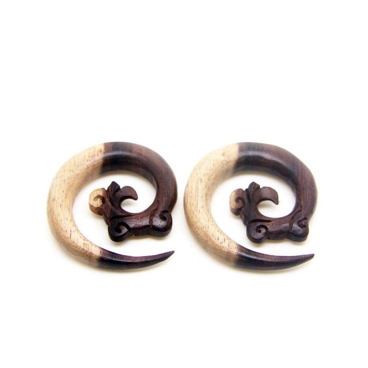 """3/8"""" 10mm Gauges Wood Earrings, Multi color 00ga Spiral Plugs BB030-10"""
