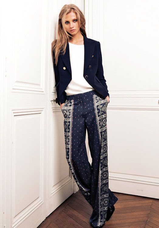 Perfection in patterned pants and a navy blazer