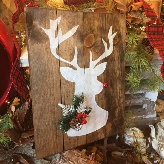 Rudolph Sign, Reindeer Sign, Deer Head, Deer Sign, Large Pallet Sign, Deer Silhouette, Gold Deer Sign, Hunting Sign, christmas sign