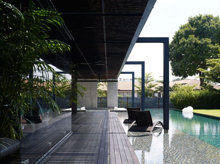 Architecture Terrace Bakcyard Pool Modern Tropical Garden House Design With Wooden Floor Planks Glass Window
