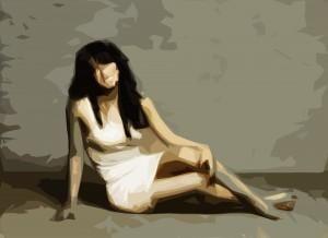 Modest in white dress, Woman, Girl, Cubist artwork, Sketch