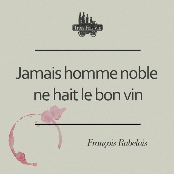 """""""Jamais homme noble ne hait le bon vin"""" nous dit François Rabelais ;) via @troisfoisvin"""