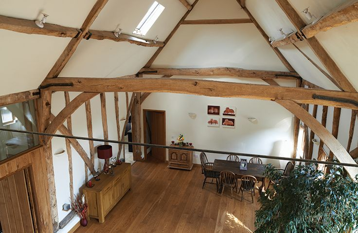 Living space with repaired original timbers from 18th century barn