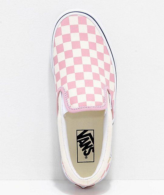 8f2f2b1ac8c Vans Slip-On Zephyr Pink   White Checkered Skate Shoes in 2019 ...