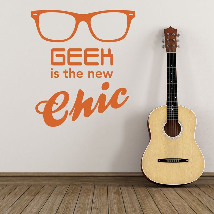Geek is the new chic - orange wall sticker. Other colours to choose from.