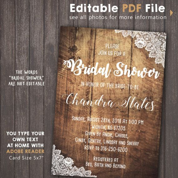 INSTANT DOWNLOAD Burlap and Lace Bridal Shower by Corollaa on Etsy