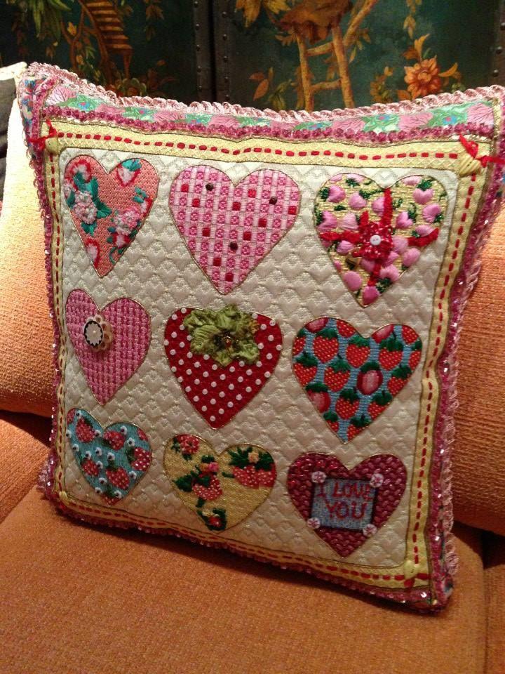 needlepoint heart sampler pillow, designer unknown
