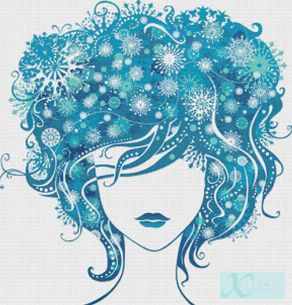 Girl with Blue Hair counted cross stitch pattern PDF - instant download!    Pattern includes:    1 x 19 page PDF cross stitch pattern,  1 x