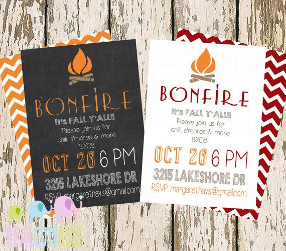 Simple Fall Party Invite, Chalkboard Bonfire Party, S'mores & Bonfire Halloween Invitation
