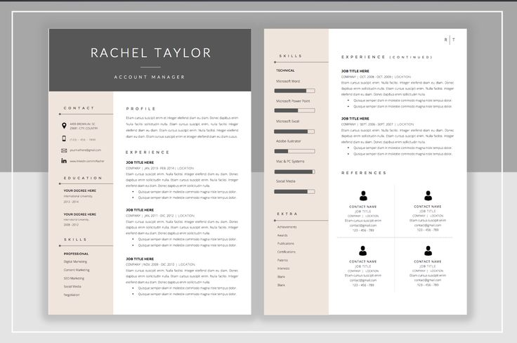 Resume Template & Cover Letter by ResumeStudio on Creative Market