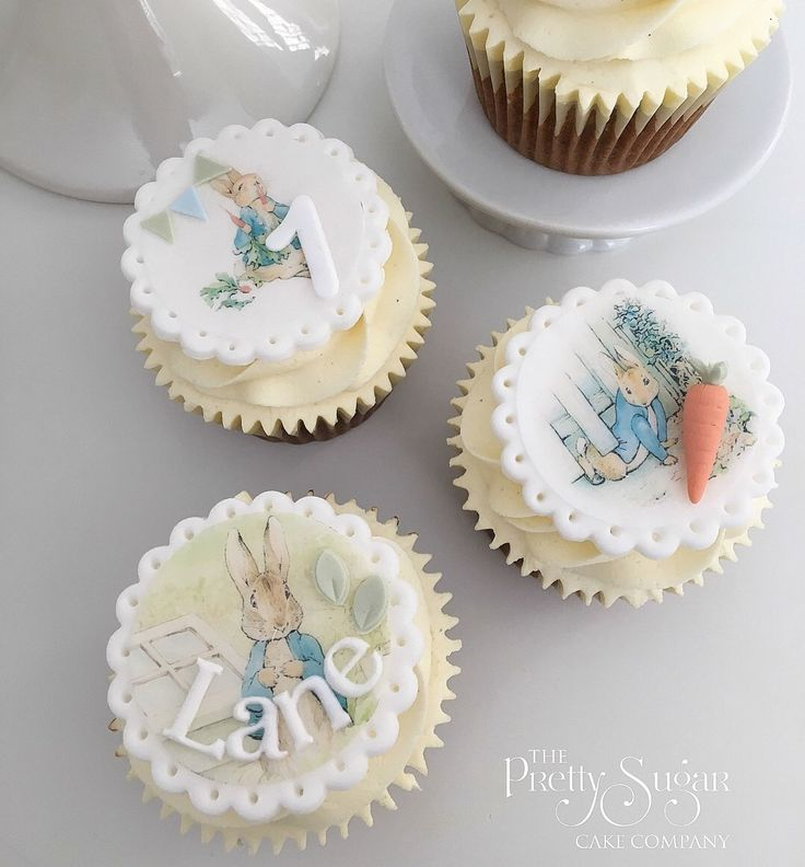 Beatrix Potter Peter Rabbit cupcakes first birthday
