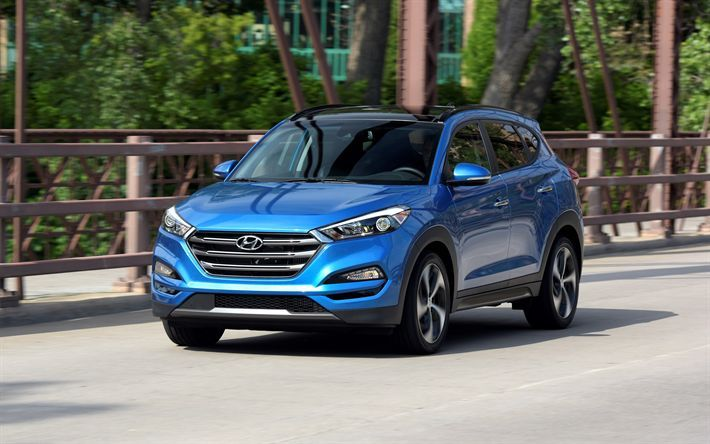 Download Wallpapers Hyundai Tucson 2018 Blue Crossover New Car
