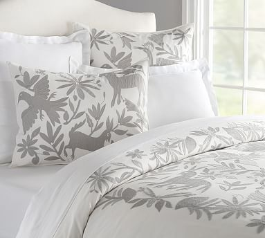 Beautiful otomi embroidered duvet cover too bad pottery Mexican embroidered bedding