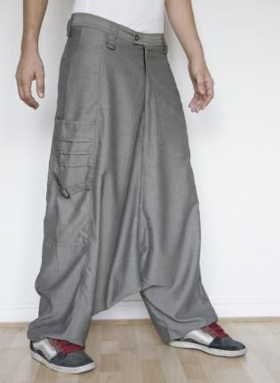 Gray Men - Herringbone Elephant harem pants