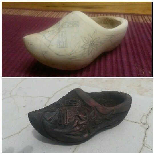 Wood carving, clog art, windmill, edelweiss, staining wood, old look, vintage look.