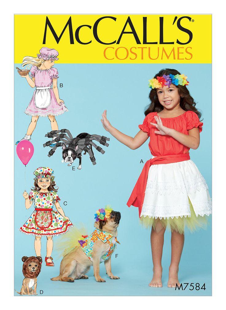 Moana Costume Pattern, Cheapest Shipping. Girl and Dog Costume Pattern. McCall's 7584. Dog Spider Costume Pattern. Kids size 3-8. New, Uncut by FashionSew on Etsy