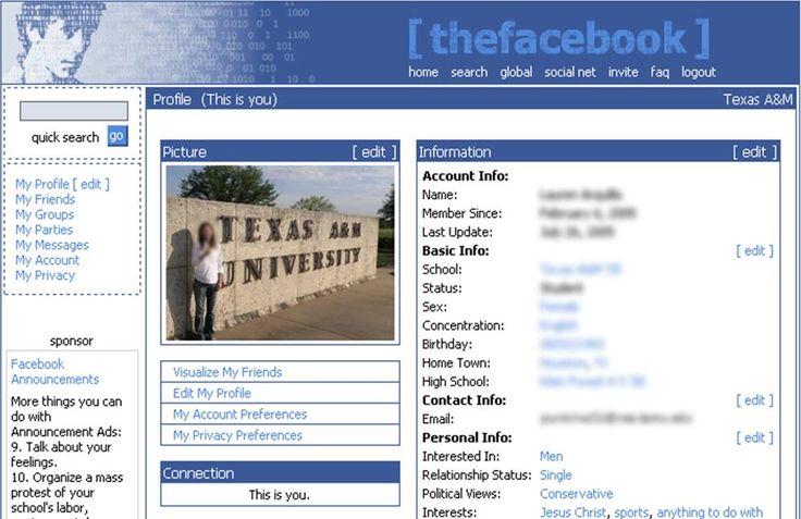 Primera interfaz de Facebook!