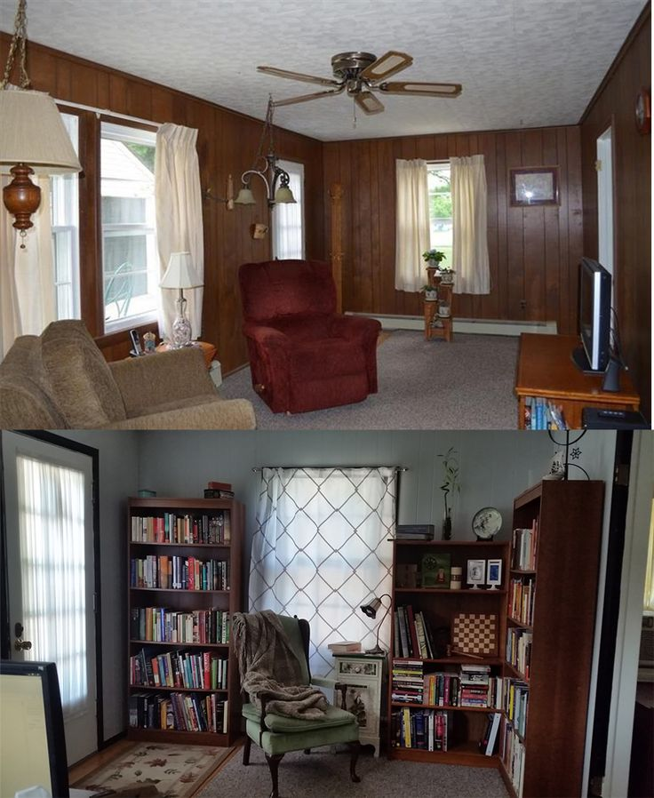 painting fake wood paneling - before and after. i wasn't sure how it would look, but i was very happy with the result! it is now a much lighter and brighter room.