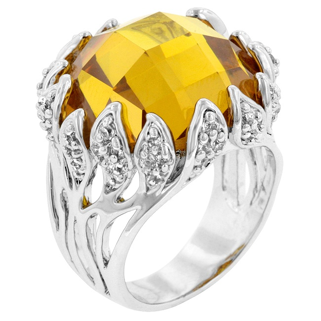 White Gold Rhodium Bonded Vintage Style Ring with Mulch-Faceted Yellow and Round Cut Clear CZ in a Prong Setting in Silvertone
