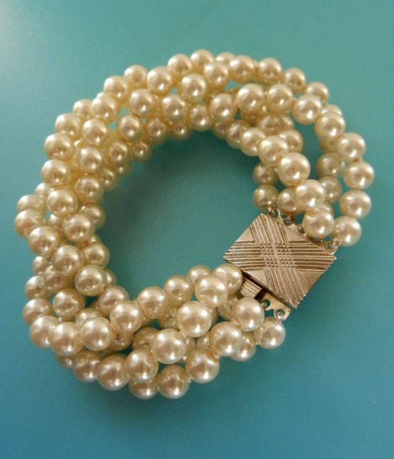 1960s vintage 5 strand torsade Bride Pearl by RAKcreations on Etsy