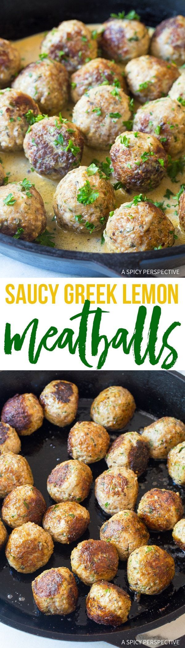 Saucy Greek Lemon Meatballs (Keftedes) Recipe – A tangy meatball recipe with bold flavors. The meatballs simmer in a lemon sauce that is  fabulous over pasta or rice!