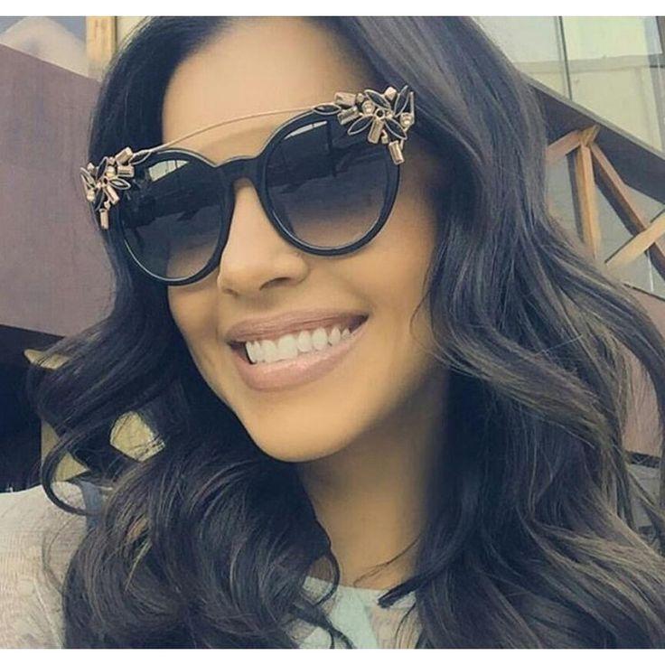2017 Luxury Diamond Cat Eye Shades Sunglasses Women Unique Brand Designer Sun glasses Fashion Style Sunglasses UV400 Gafas
