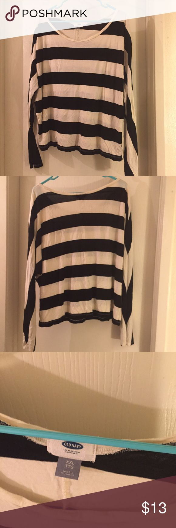 Plus size black and white shirt Long sleeved plus size shirt with horizontal stripes. Old Navy Tops Tees - Long Sleeve