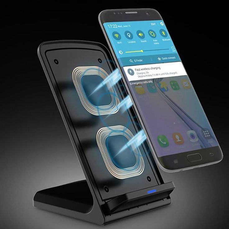 10w portable vertical double coil wireless charger with