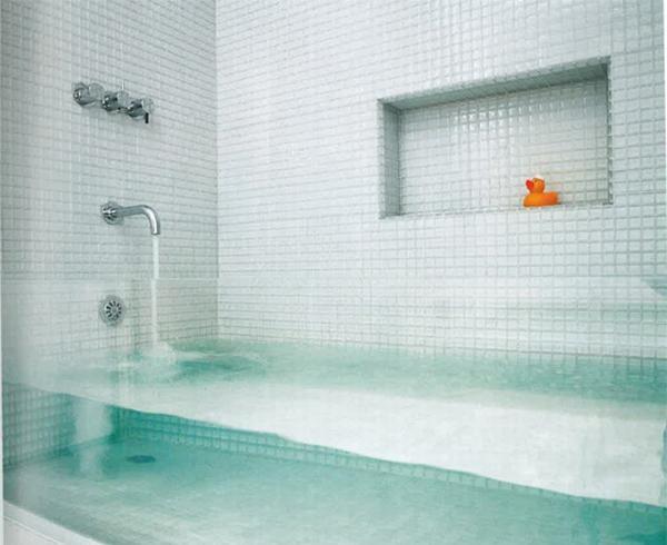 Seethrough bathtub.
